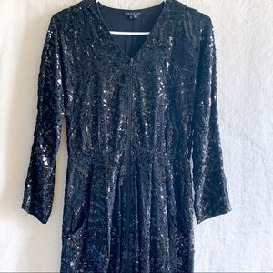 THEORY Sequined Dress w Zipper V-Neck Size 2